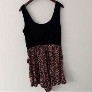 Torrid Black Pink Floral Romper with Pockets XL 1